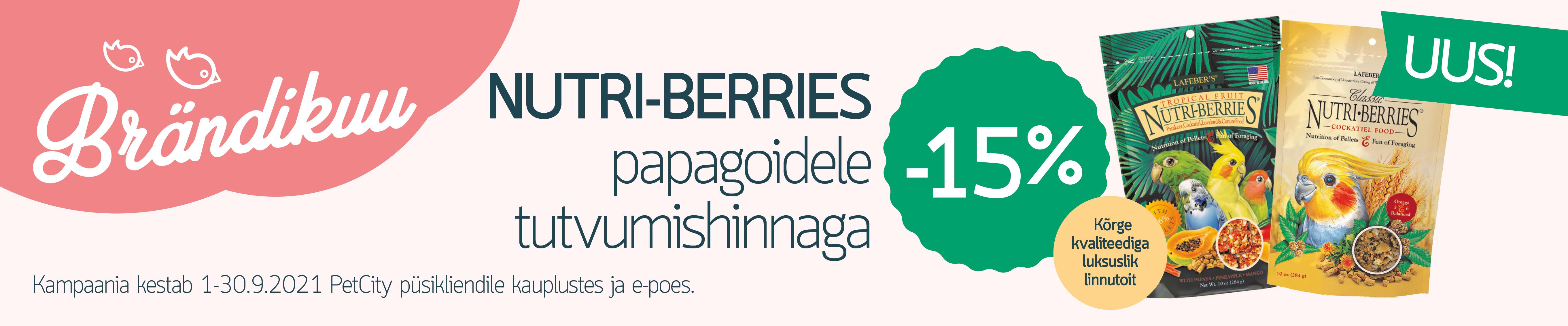 UUS! NUTRI-BERRIES papagoidele -15%